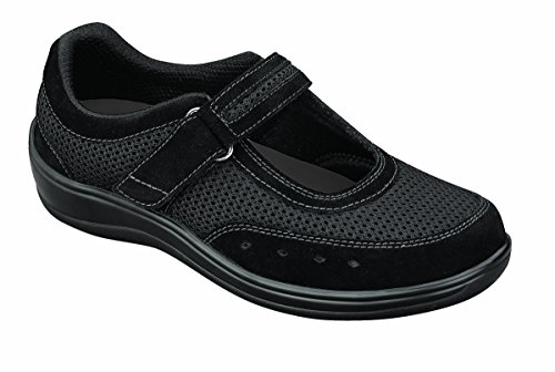 Orthofeet Chattanooga Womens Comfort Orthotic Orthopedic Diabetic Mary Jane Shoes Black Fabric and Leather 8 W US by Orthofeet