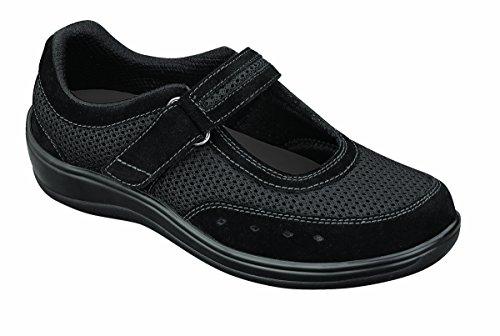 Orthofeet 851 Women's Comfort Diabetic Therapeutic Extra Depth Shoe Black 10.5 Medium (C) Velcro by Orthofeet