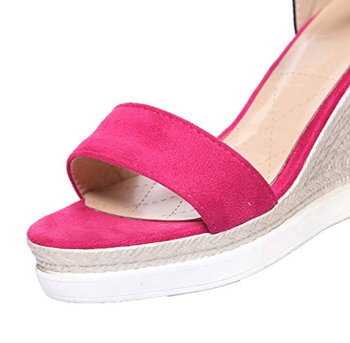 Assorted RoseRed VogueZone009 Suede Sandals Buckle Imitated Color Heels Women High xYpx7a