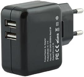 iprotect Original USB Ladegerät 2000mA einsetzbar als Netzteil Ladekabel Ladeadapter 2,0A schwarz für iPad, iPhone, Android Phones Tablets, Smartphone, Handy, PSP, GoPro, GPS