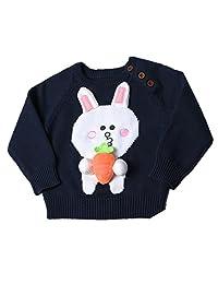 Lemonkid Trendy Kids Cute Cotton Rabbit Radish Pattern Handmade Pullover Sweater