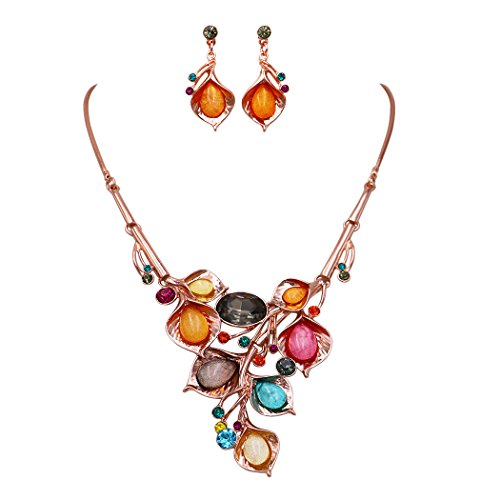 Rosemarie Collections Women's Crystal Cluster Floral Leaf and Vine Statement Necklace Set (Rose Gold (Floral Vine Jewelry Collection)