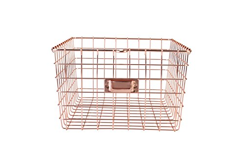Artestia Mesh Steel Basket Organizer for Mails, Files, Brochures, Flyers, Magazines in Rose Gold Color to use in Office, Garage, Kitchen, Laundry