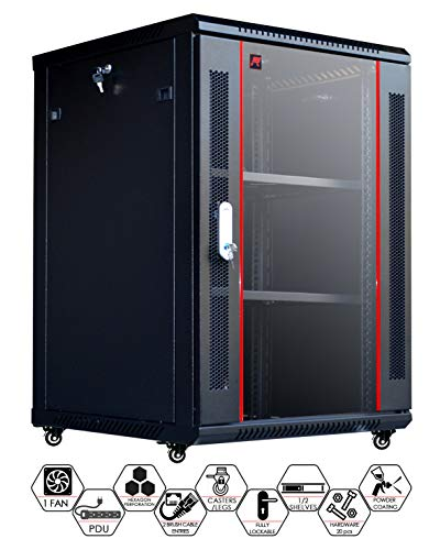 18U Wall Mount Server Rack Network Equipment Rack 19 Inch Data Cabinet Enclosure Locking - Accessories - PDU - Wheels - Casters - Fan - 2 Shelves - 2 Dust Tight Cable Entries