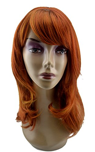 Leyee Red Brown Mid-Length Natural Looking Oblique Bangs Kanekalon Fiber Synthetic Wigs for Women Daily (Red (Deluxe Brown Dreadlock Wig)
