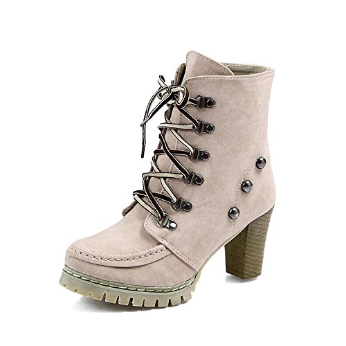Mailanda Nieten Lace Up Schn¨¹r Plateau Stifeletten Pumps High Heels Keilabsatz Ankle Boots Damen Schuhe