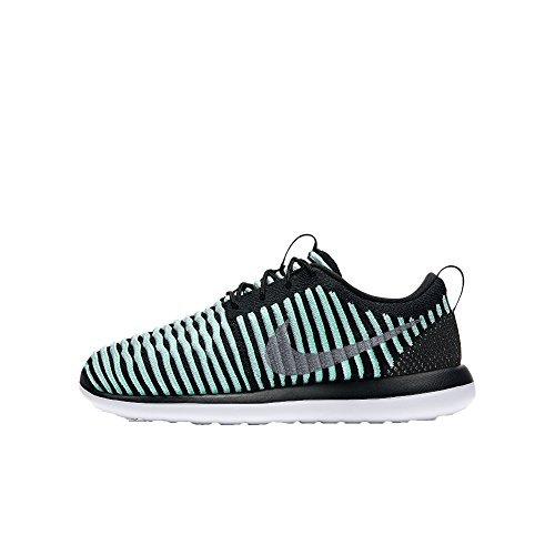 Nike Roshe Two Flyknit Girls girls fashion-sneakers 844620-301_4.5Y - Green Glow/Metallic Silver by NIKE