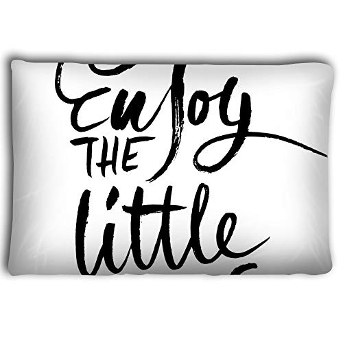 Jieifeosnn Pillow Cases Enjoy Little Things Hand Drawn Dry Brush Lettering Ink 2030inch