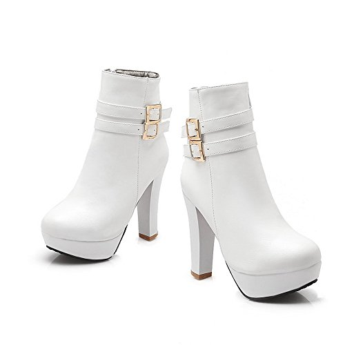 Material Women's White Allhqfashion top Low Heels Zipper Soft High Solid Boots Hq4OB