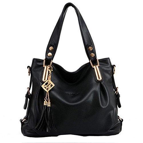 Van'an Womens Fashionable Patent Leather Boutique Metal Tassels Tote Bags Top Handle Handbag(Black)