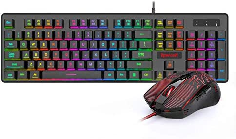 Redragon S107-BA Gaming Keyboard and Mouse Combo Wired Mechanical Feel RGB LED Backlit Keyboard 3200 DPI Gaming Mouse for Windows PC (Keyboard Mouse Combo)