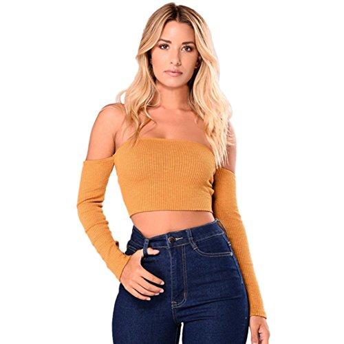 de amarillo VENMO del hombro Crop larga mujeres para chaleco fuera blusa tirantes casual Moda Camiseta tanque manga superior de Tops mujer PwfFFq