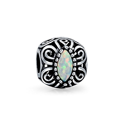 - Vintage Style Created Opal Bali Style Scroll Milgrain Charm Bead For Women 925 Sterling Silver Fits European Bracelet