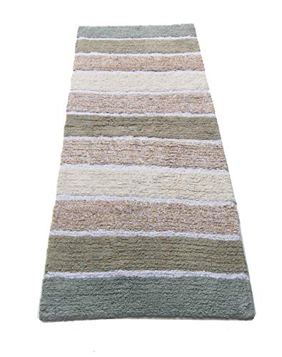 Chardin home Cordural Stripe Bath Runner, Gray/Beige with Latex Spray Non-Skid Backing, 24