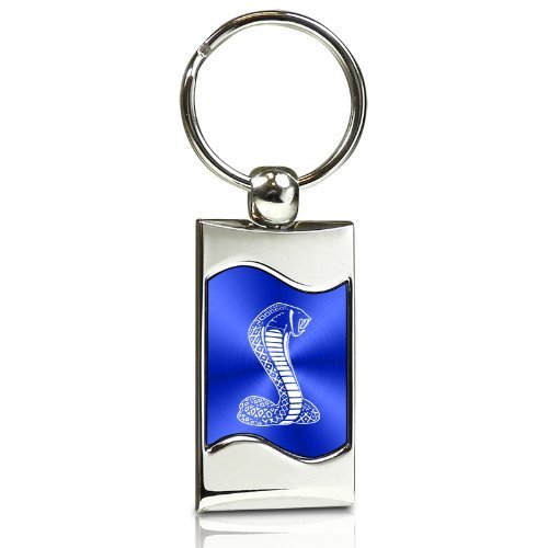 (Au-Tomotive Gold, INC. Ford Mustang Shelby Cobra Blue Spun Brushed Metal Key Chain )
