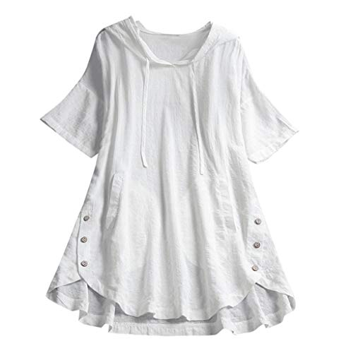 Aniywn Women's Vintage Button Down Short Sleeve Hoodie Tops Loose Plus Size Pocket Plaid T-Shirt White