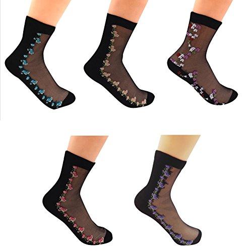 Cotton Silk Trousers - Sept.Filles Women's Socks Lace Ultrathin Flower Socks Packs of 5 (5 Colors)