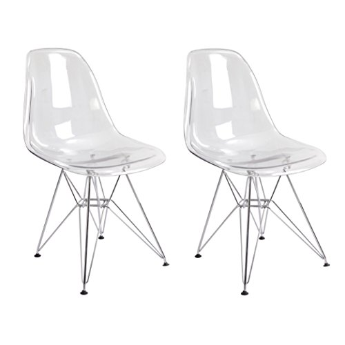 [Mod Made Paris Tower Acrylic Side Chair, Clear, Set of 2] (Acrylic Dining Chair)