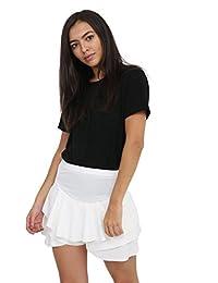 Glamorous Fashion's Women's Ladies Double Frill Short Mini Skirt Size Small-XL