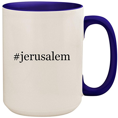 #jerusalem - 15oz Ceramic Colored Inside and Handle Coffee Mug Cup, Deep Purple