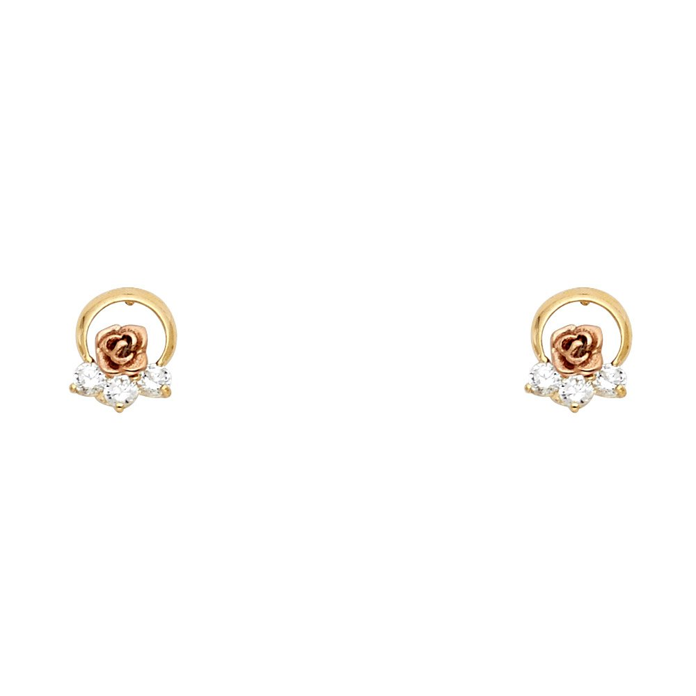 Wellingsale 14K Two Tone Flower Stud Earrings With Screw Back