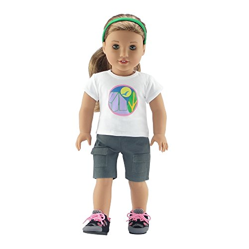 - Emily Rose 18 Inch Doll Clothes | Brownie Girl Scout Camping Outfit | Hiking Boots Included! | Fits American Girl Dolls | Gift Boxed!
