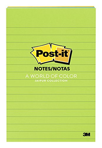 Post-it Notes, 4 in x 6 in, Jaipur Collection, Lined, 3 Pads/Pack, 100 Sheets/Pad (Halloween Au)