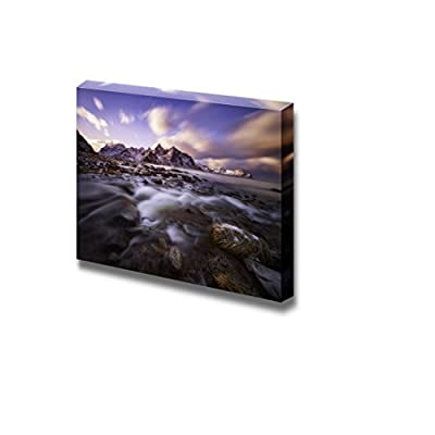 Beautiful Scenery Landscape Sunset Over Lofoten Islands Norway Nature Beauty - Canvas Art Wall Art - 32