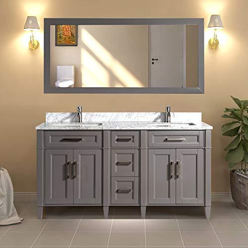 Vanity Art 60 Inch Double Sink Bathroom Vanity Set   Carrara Marble Stone Soft Closing Doors Undermount Rectangle Sinks with Free Mirror - VA2060-DG