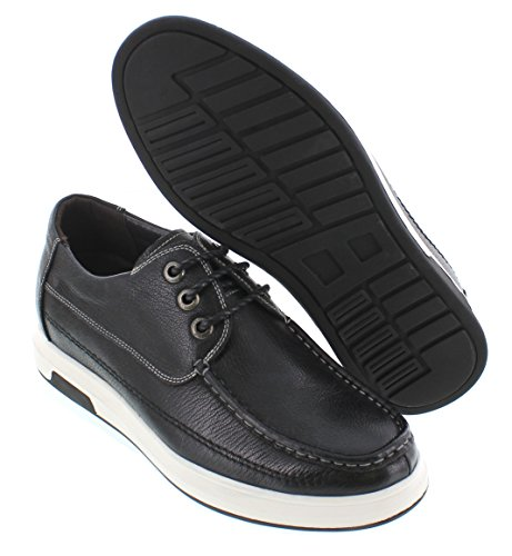 CALTO J9309-2.4 inches Taller - height Increasing Elevator Shoes - Black Leather Lace-up Casual Shoes eX2v0