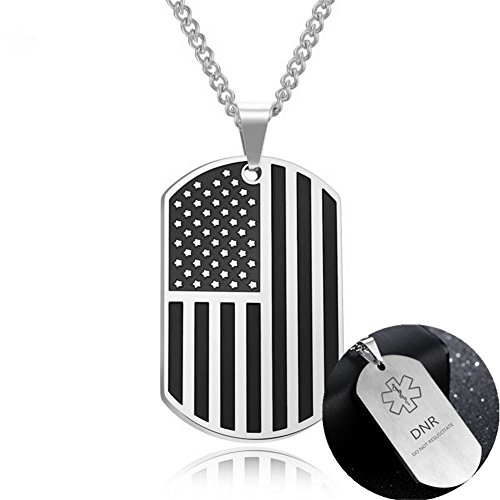 Death With Dignity DNR Necklace for Adults Men DO NOT RESUSCITATE Stainless Steel Medical Alert Engraved Military Dog Tag ID Pendant,Gold,Silver ()