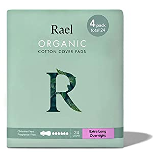 Rael Organic Cotton Sanitary Pads – Extra Long Overnight Size, Heavy Absorbency, Postpartum, Unscented, Ultra Thin Pads…