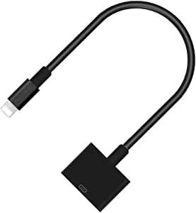 Lightning to 30-Pin Adapter, ROSYCLO MFi Certified 8-Pin Male to 30 Pin Female Output Cable Converter Charging Data Sync Connector Compatible iPhone 12/11/X/8/7/6/5/iPad/iPod Black (No Audio)