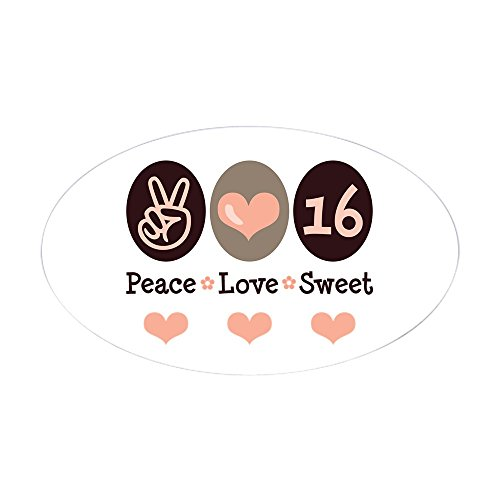 CafePress - Peace Love Sweet Sixteen 16th Birthday Sticker (Ov - Oval Bumper Sticker, Euro Oval Car Decal