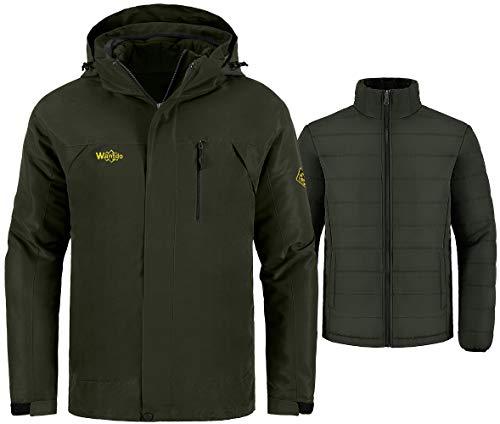 Wantdo Men's 3-in-1 Jacket Snowboard Coat Wind Resistant Raincoat Army Green XL (Cold Weather Jacket Liner)