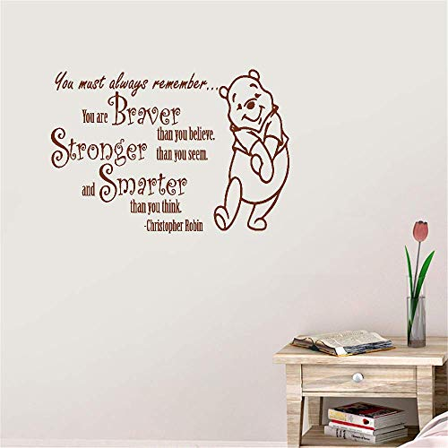 Maseo Wall Sticker Quote Wall Decal Funny Wallpaper Removable Vinyl You Must Always Remember You are Braver Stronger Than You Believe Than You Seem for Living Room Bedroom Nursery Kids Bedroom -