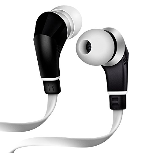 Original NoiseHush NX80 Premium White and Black Tangle-Free Handsfree 3.5mm Stereo Sound Headset with Mic