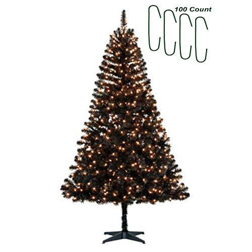 Black Christmas Tree Clear Lights Pre Lit with 350 Lights 6.5 ft Artificial Madison Pine - with Christmas Decoration Ornament Hooks 100 Count