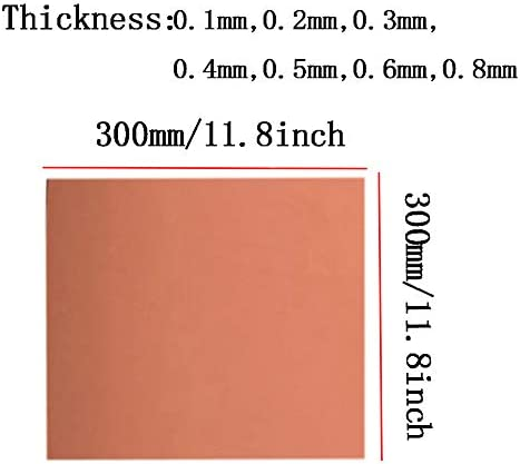 SOFIALXC 99,99/% Rame Puro Lamiera per Lartigianato Aerospace-Thickness 0.3mm