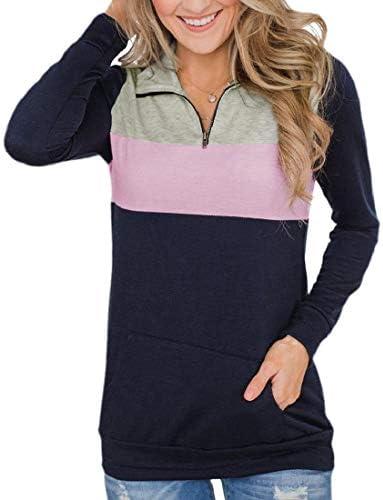 レディースロングスリーブトップス ハーフジップコントラスト カジュアルスウェットシャツ ポケット付き