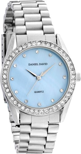 - Women's Watches by Daniel David - Silver And Blue Mother-of-Pearl Bracelet Watch - Make Every Second Count - DD11001