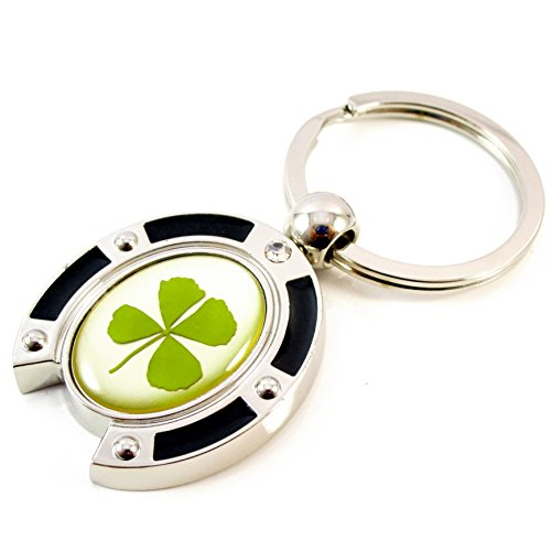 Genuine Real Four Leaf Lucky Clover Shamrock Crystal Amber Key Chain / Keychain, Horse Shoe / Horseshoe, Good Lucky Every Step (Amber Horse)
