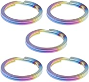 Prettyia 5pcs Titanium Keyring Split Rings Light Key Chain Holder Connector Ring Loop Clasps for Outdoor Trave