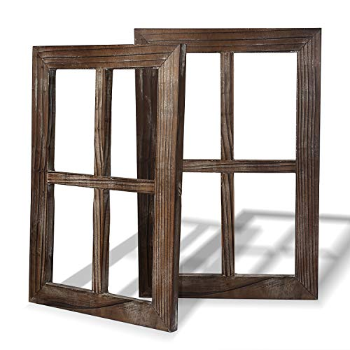 Cade Rustic Wall Decor Window Barnwood Frames -Farmhouse Decoration for Bedroom, Living Room, Bathroom, Kitchen, Office and More (2, 11X15.8 inch) (Wood Window Frame)