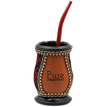 Food grade safe multi-use plastic mate gourd dressed in leather and ethnic weaving. Self-Clean Design (bombilla straw included)