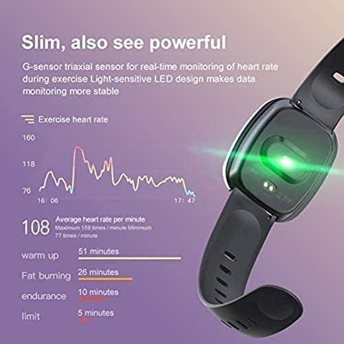 Mostra il cuore Smart Monitor sonno musica frequenza impermeabile Fitness Tracker braccialetto full touchscreen in oro bianco,Nero