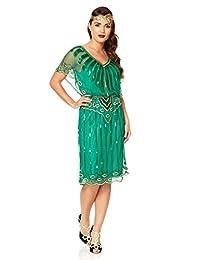 Gatsbylady Angel Sleeve 1920's Vintage Inspired Flapper Dress in Emerald Green