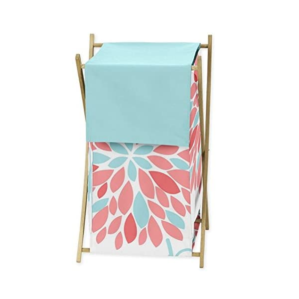 Sweet Jojo Designs Baby Children Kids Clothes Laundry Hamper for Turquoise and Coral Emma Bedding Set