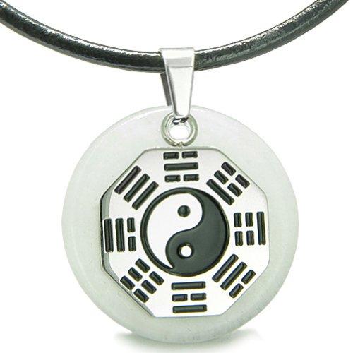 (Yin Yang BA GUA Eight Trigrams Amulet White Snowflake Quartz Magic Leather Pendant Necklace)