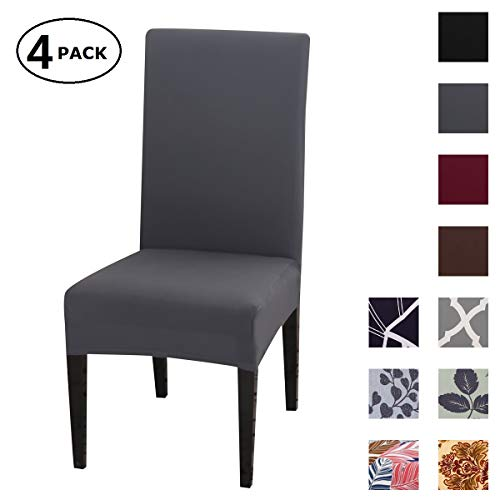 Dining Chair Cover Seat Protector Super Fit Slipcover Stretch Removable Washable Soft Spandex Fabric for Home Hotel Dining Room Ceremony Banquet Wedding Party Restaurant (Color 10, 4 Per Set)
